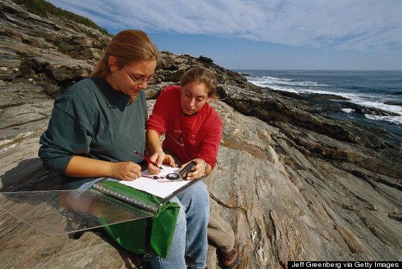 Geology students survey coast, Two Lights SP, ME