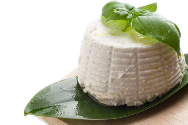 ricotta and basil on white background